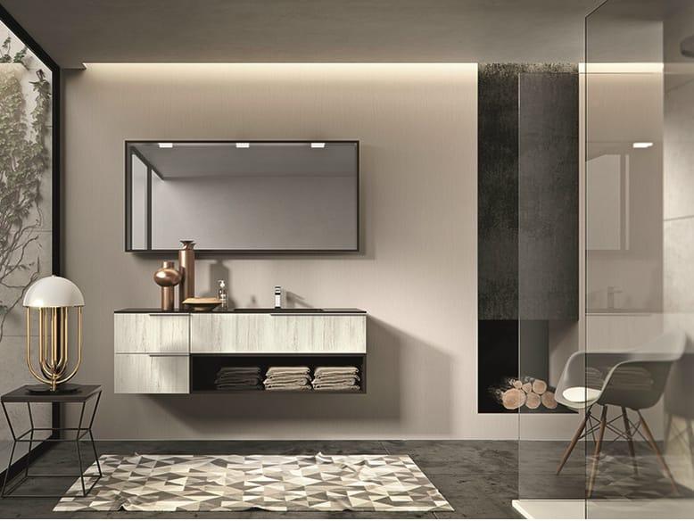 Mobile lavabo laccato sospeso con cassetti giunone 352 by edon by agor group design marco bortolin - Agora mobili bagno ...
