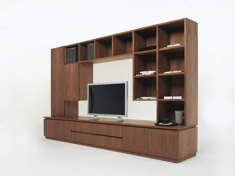 Muebles de madera para tv de sal n con dos vitrinas y - Muebles de madera para television ...