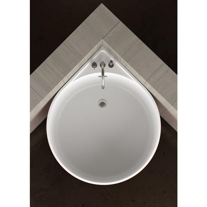 Vasca da bagno angolare rotonda mini white glass design - Petite baignoire ronde ...