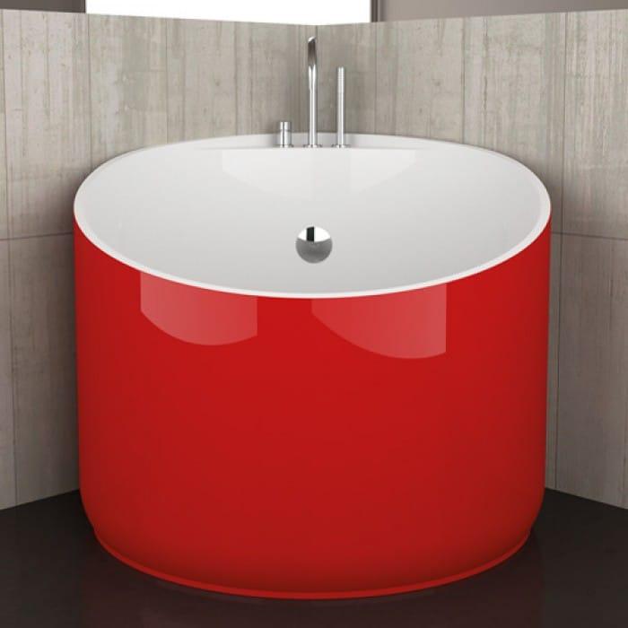 Baignoire d 39 angle ronde mini red ferrari by glass design - Mini baignoire d angle ...
