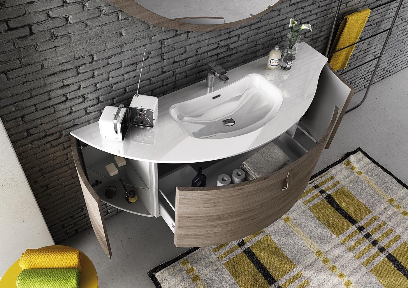 Mobile lavabo componibile singolo sospeso freedom 01 by legnobagno - Legnobagno prezzi ...