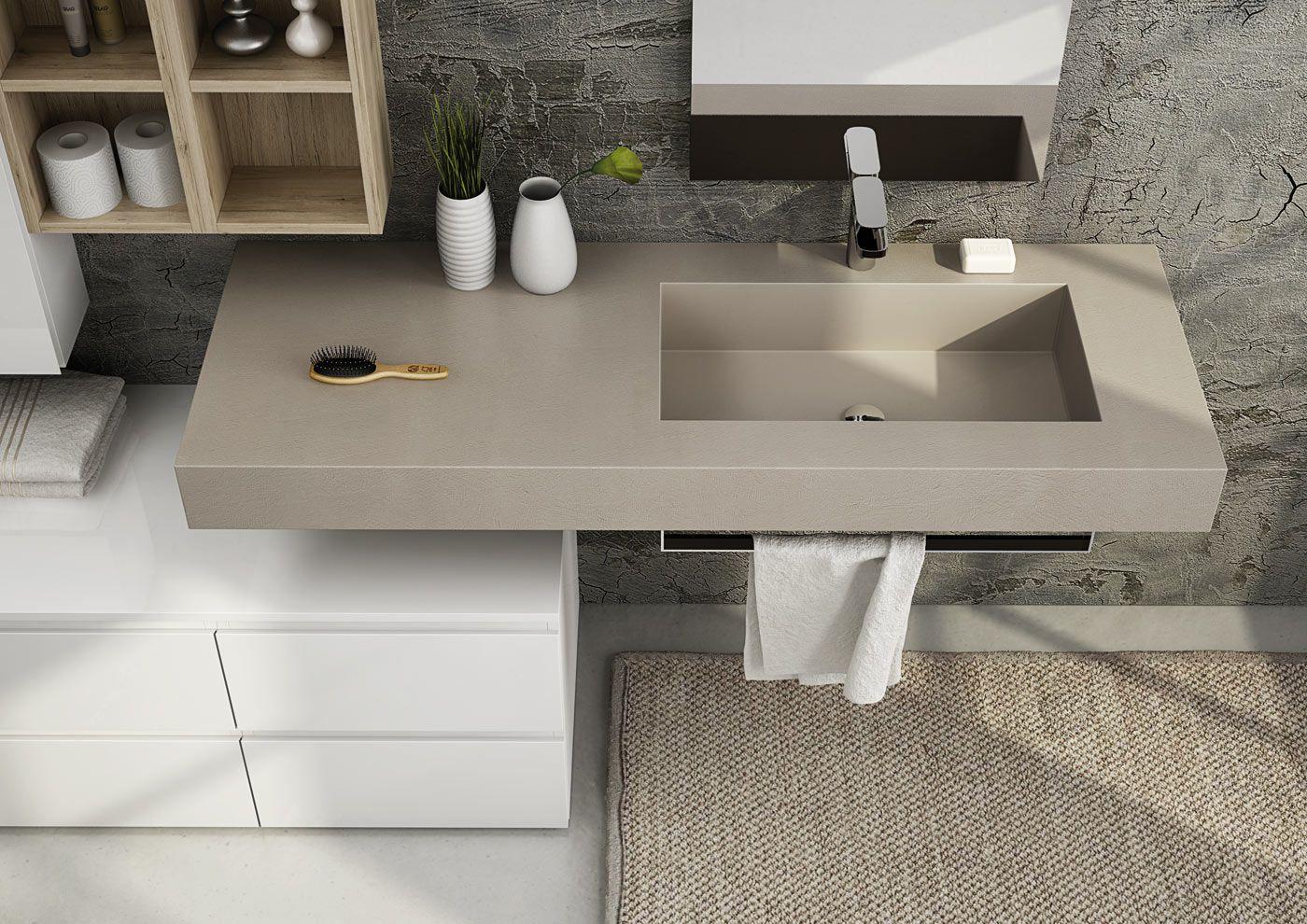 Mobile lavabo componibile singolo sospeso freedom 09 by - Resina per mobili ...