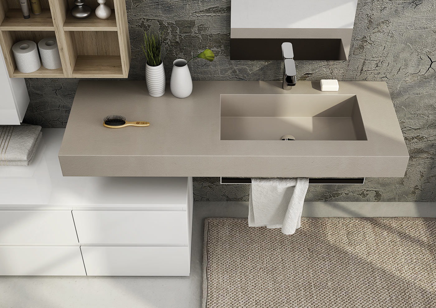 Mobile lavabo componibile singolo sospeso freedom 09 by - Lavabo bagno resina ...