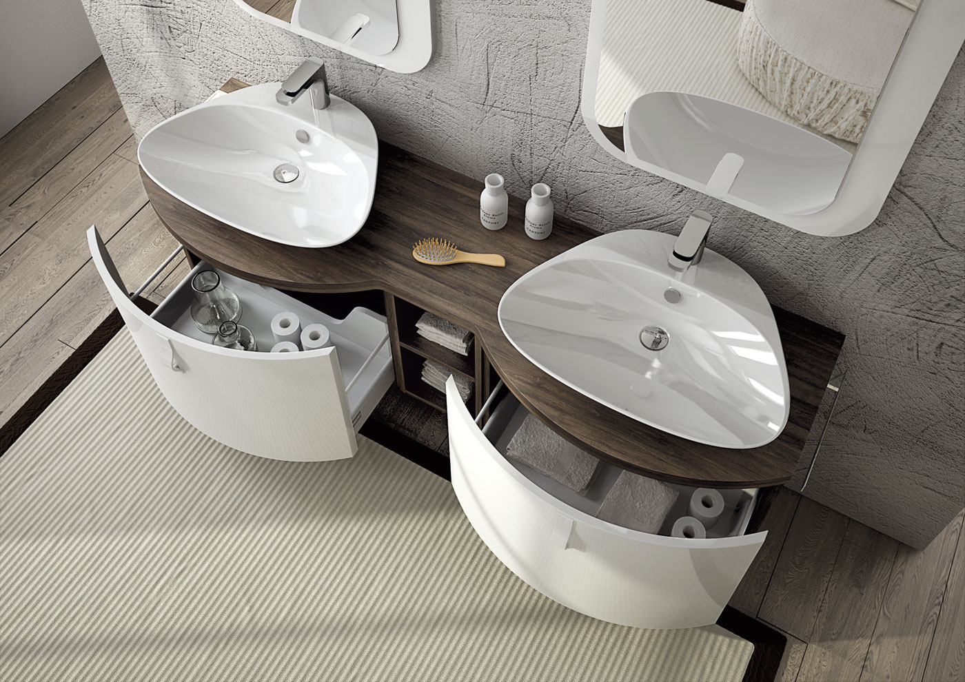 Mobile lavabo componibile doppio sospeso freedom 06 by for Mobile lavabo
