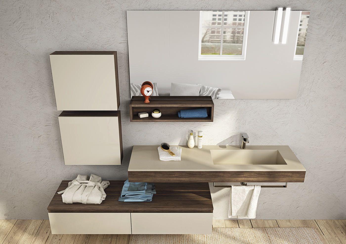 Mobile lavabo componibile sospeso freedom 18 by legnobagno - Legnobagno prezzi ...