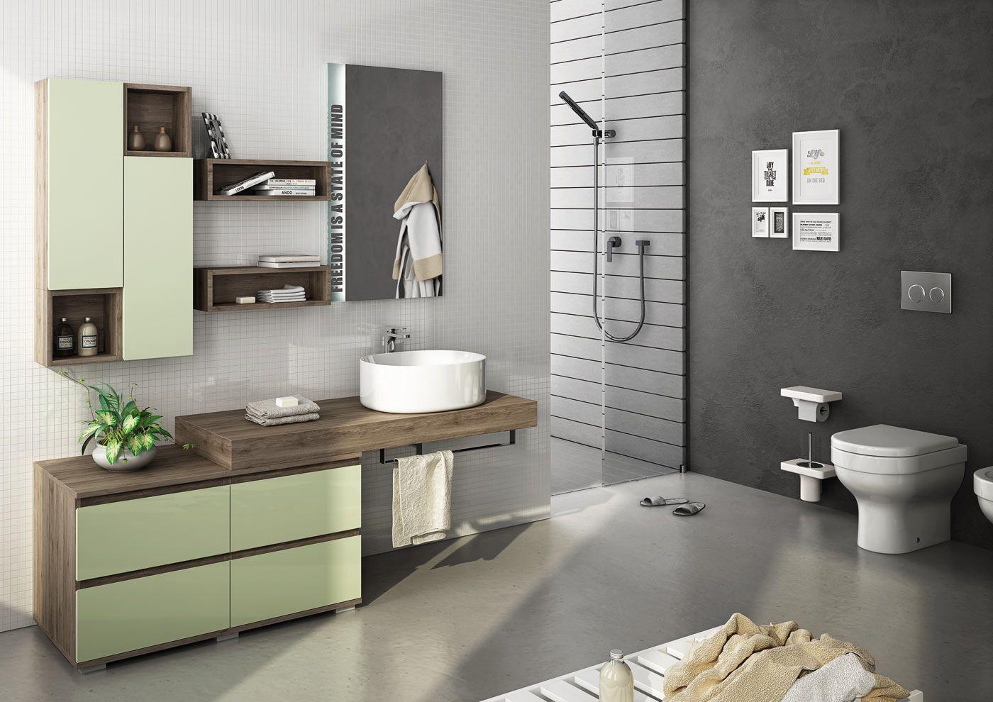 Mobile lavabo componibile singolo freedom 19 by legnobagno - Arredo bagno latina ...
