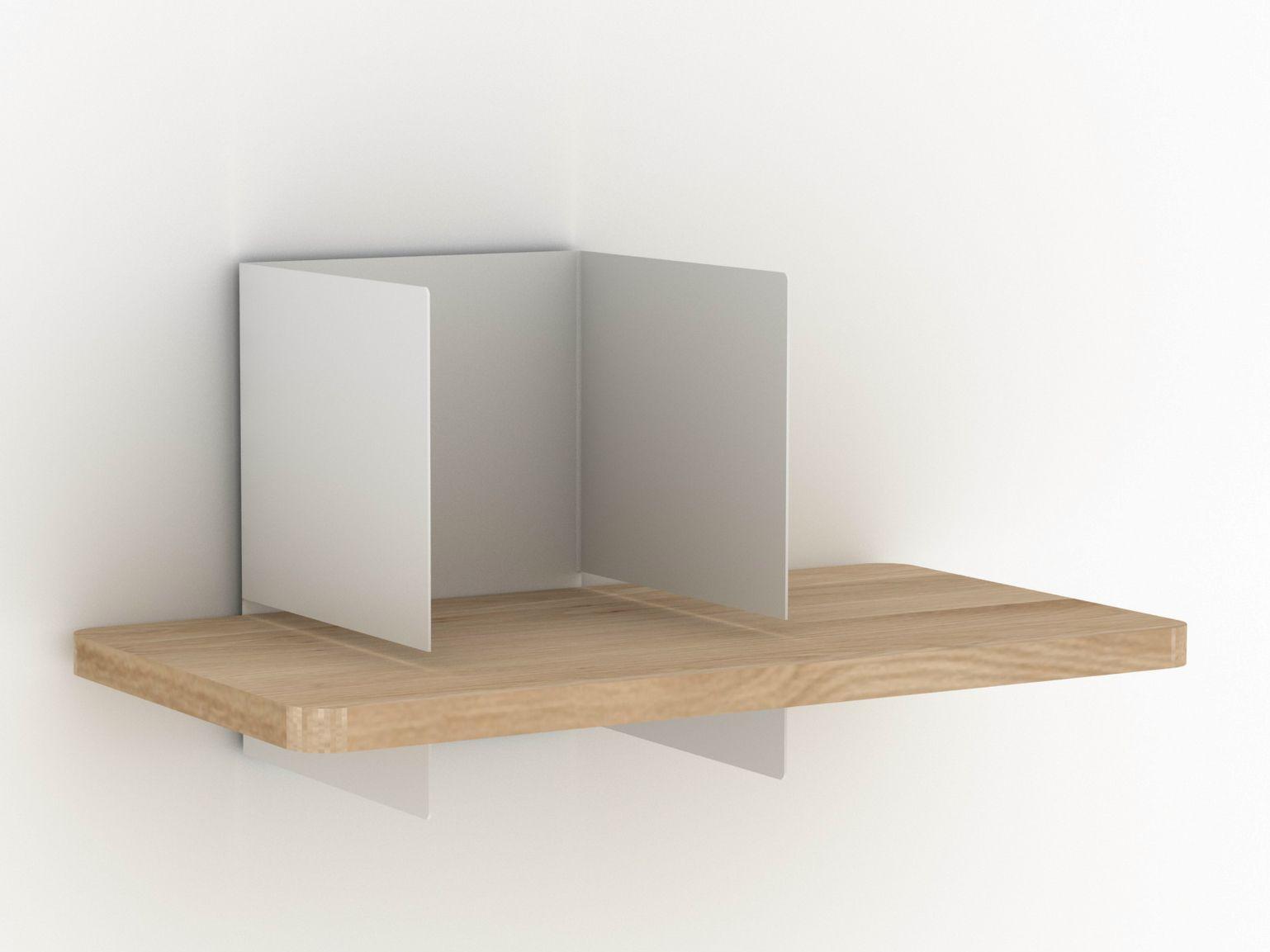 Oak and metal wall shelf clip wall shelf small by universo positivo - Wall metal shelf ...