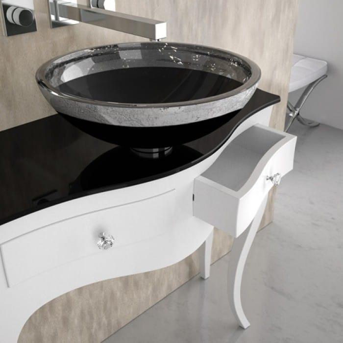 console de lavabo sur pieds avec tiroirs leonardo canto xl white flare tech black by glass design. Black Bedroom Furniture Sets. Home Design Ideas