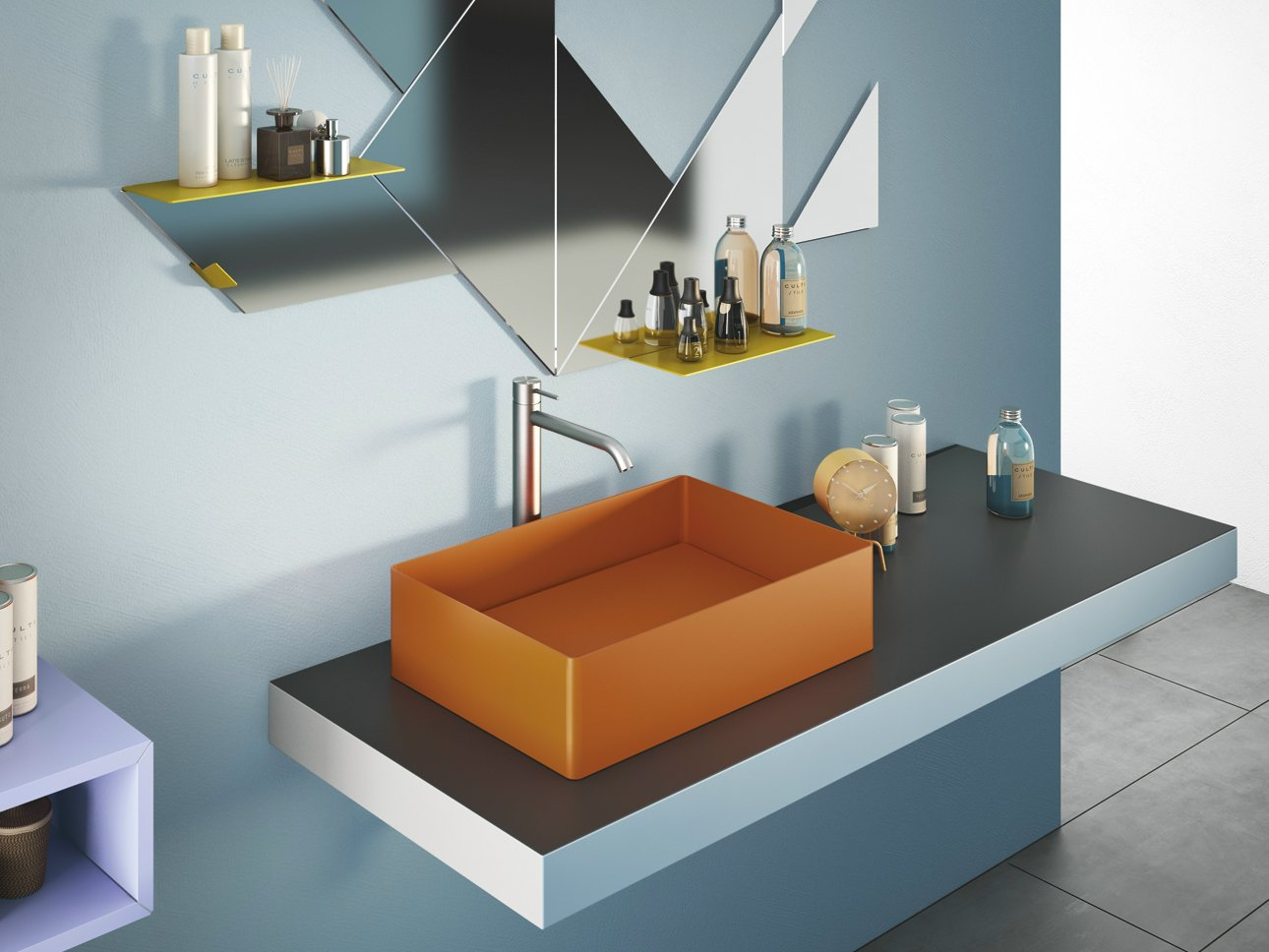 steel lavabo da appoggio by lago design daniele lago. Black Bedroom Furniture Sets. Home Design Ideas