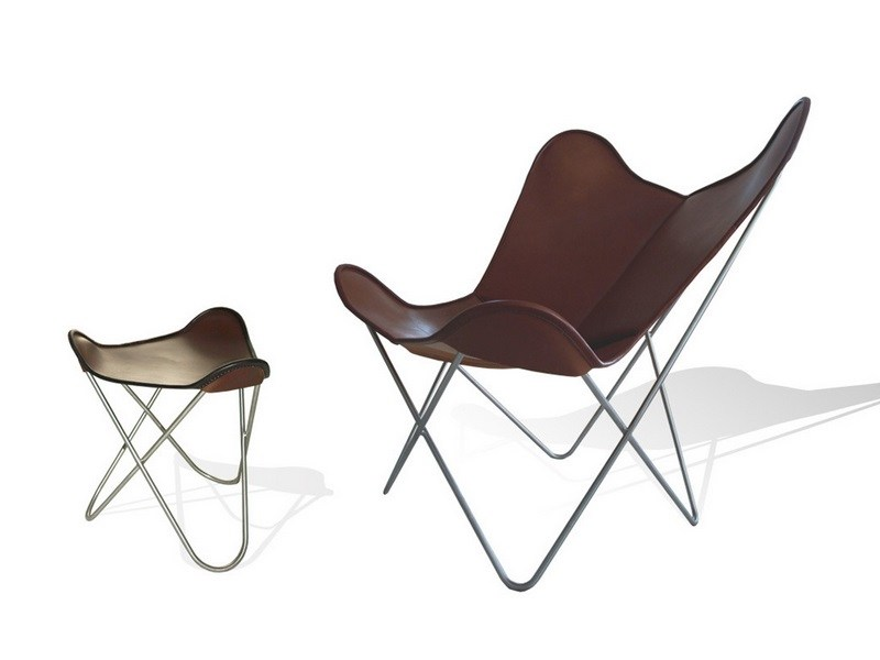 poltrona in pelle con poggiapiedi hardoy butterfly chair. Black Bedroom Furniture Sets. Home Design Ideas