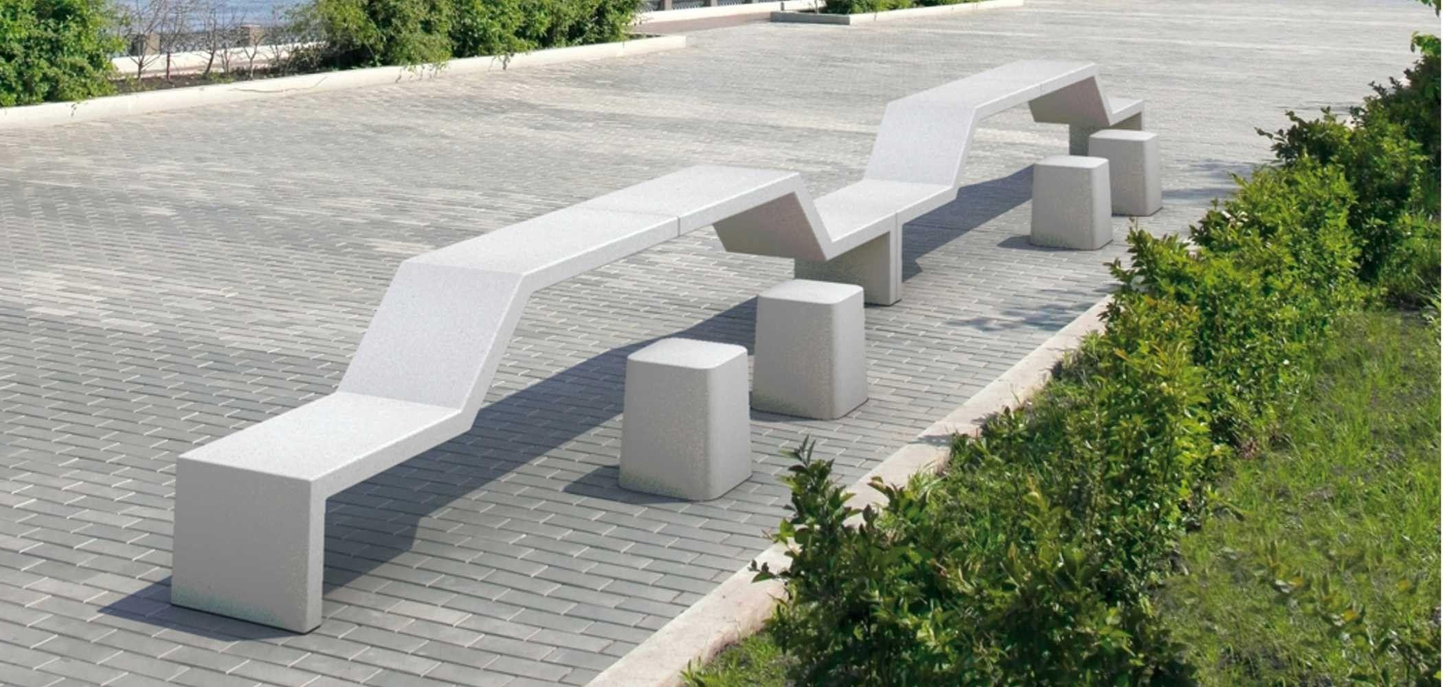 Panchina modulare in pietra ricostruita senza schienale for Panchine arredo urbano prezzi