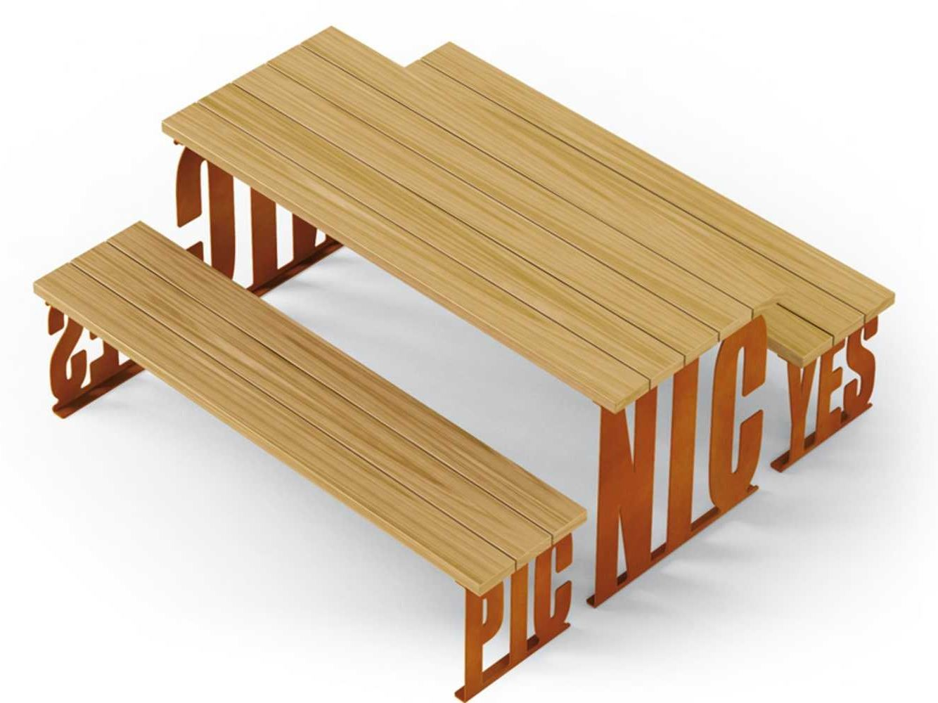 rectangular wooden picnic table pic nic by metalco design. Black Bedroom Furniture Sets. Home Design Ideas