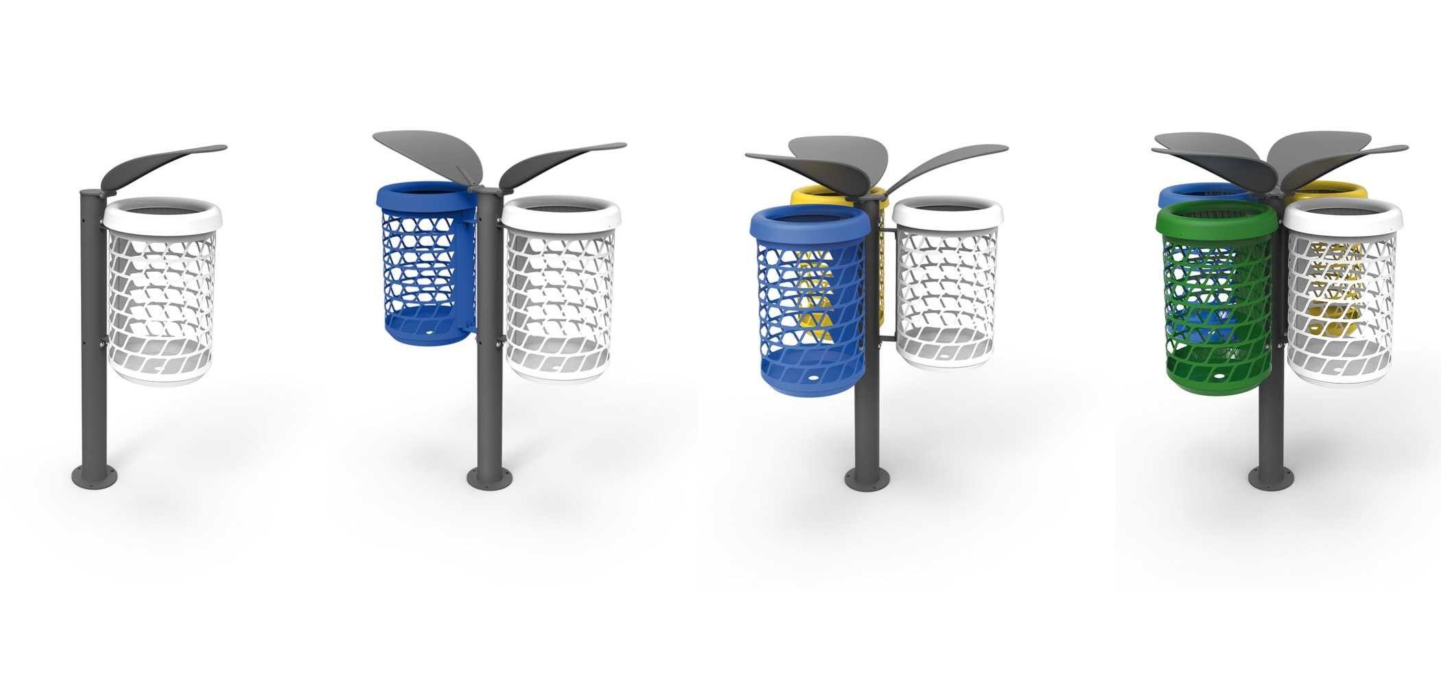 Poubelle pour ext rieur de tri s lectif bravo boom metalco for Poubelle exterieur design