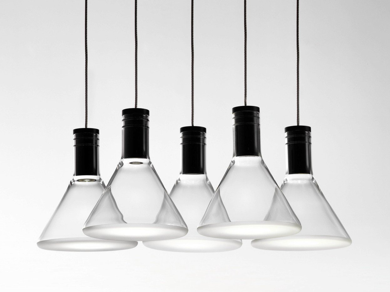 Suspension led en pyrex multispot polair by fabbian for Suspension multi ampoules