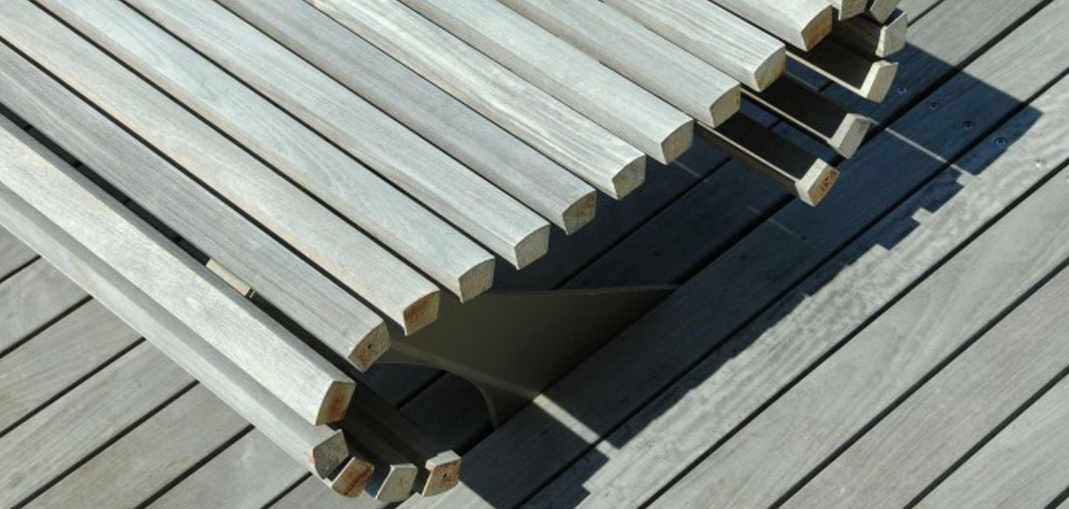Banc en bois de style contemporain sans dossier pouf by metalco design west 8 urban design - Banc en bois sans dossier ...