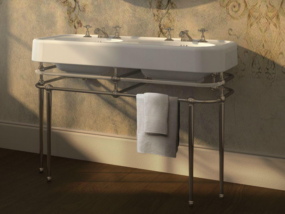 lavabo console double avec porte serviettes crystal memphis by devon devon. Black Bedroom Furniture Sets. Home Design Ideas