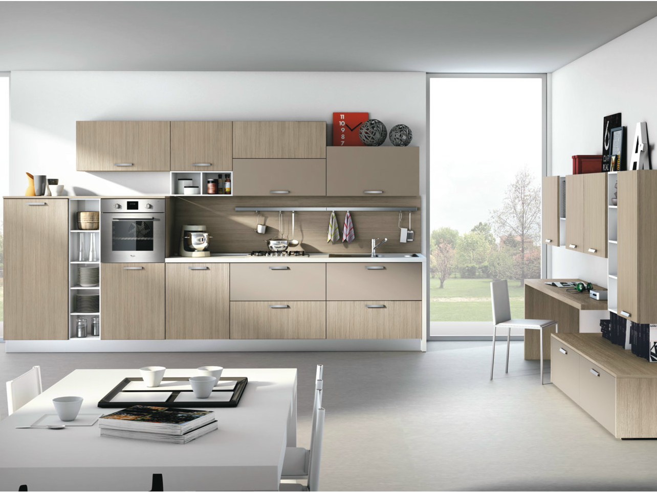 Cucina componibile lineare con maniglie alma by creo for Cucine componibili