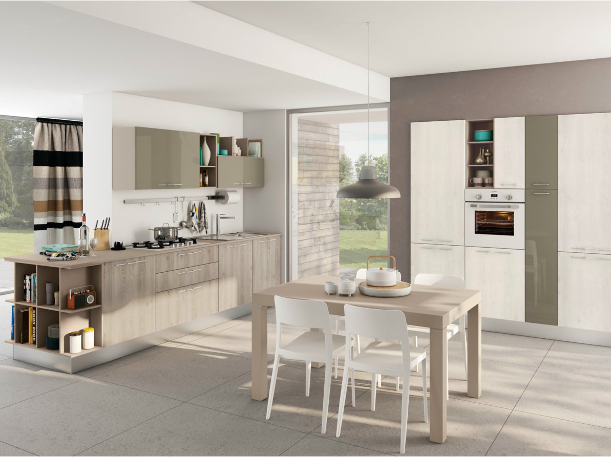Cucina componibile lineare con maniglie kyra by creo kitchens by lube - Cucina lube kyra ...