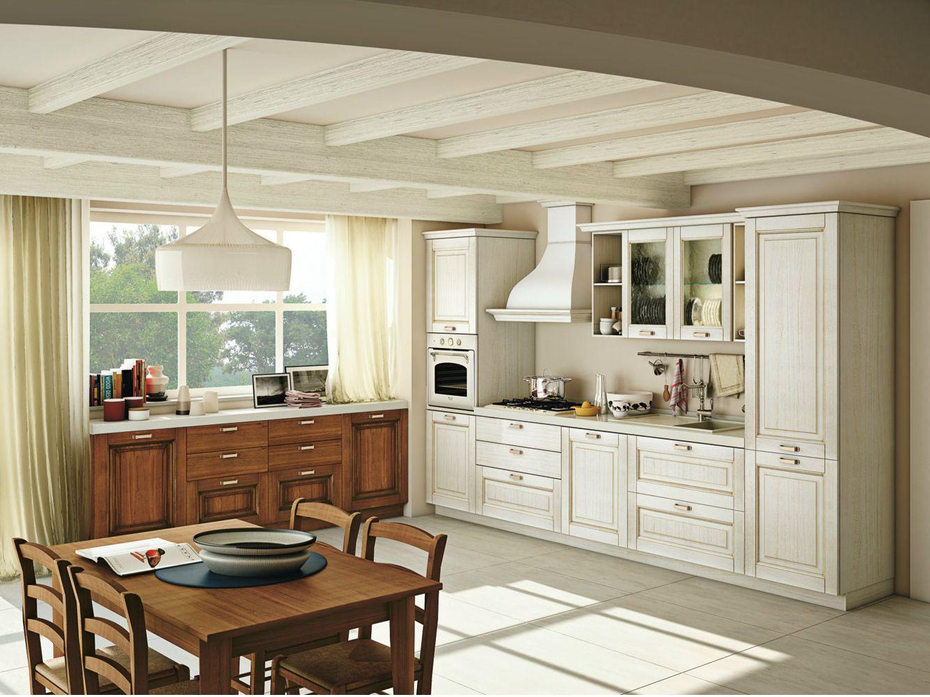 Cucina componibile lineare in legno massello con maniglie ...