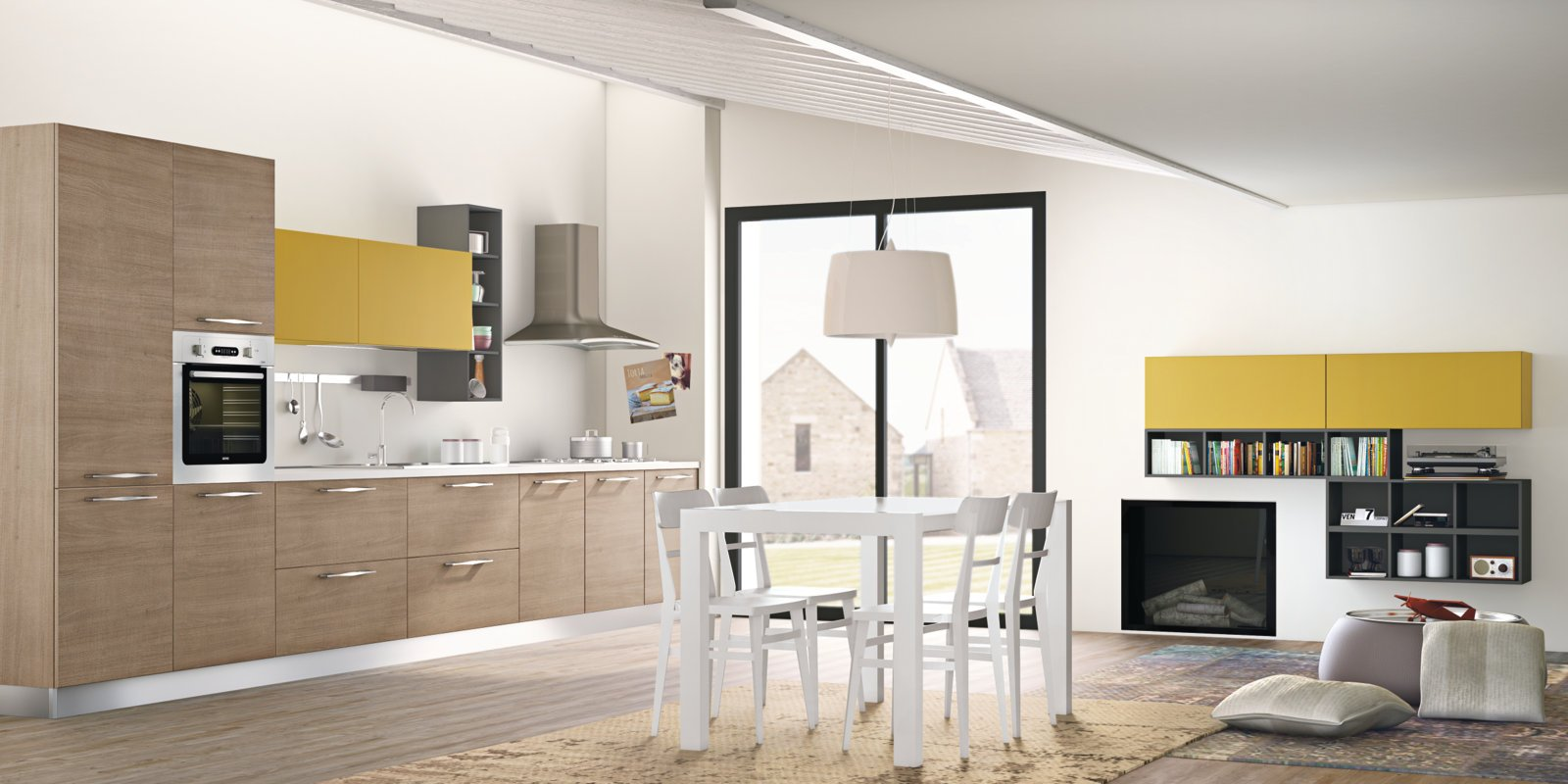Cucina componibile lineare con maniglie inka by creo kitchens by lube - Cucina lube nita ...