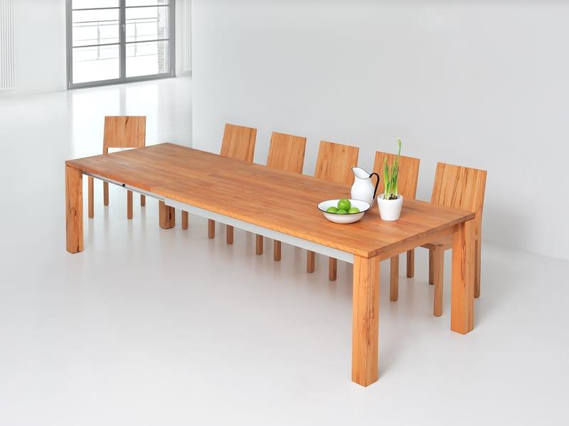 Tavolo allungabile rettangolare in legno massello amber by for Tavolo legno massello allungabile
