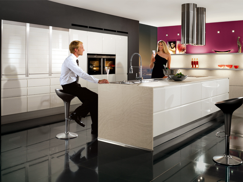 lacquered kitchen with island pura 834 by nobilia werke. Black Bedroom Furniture Sets. Home Design Ideas