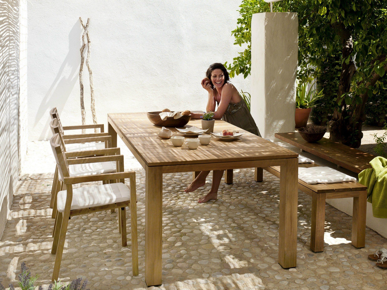fr produits  kos teak table de jardin en teck rectangulaire tribu