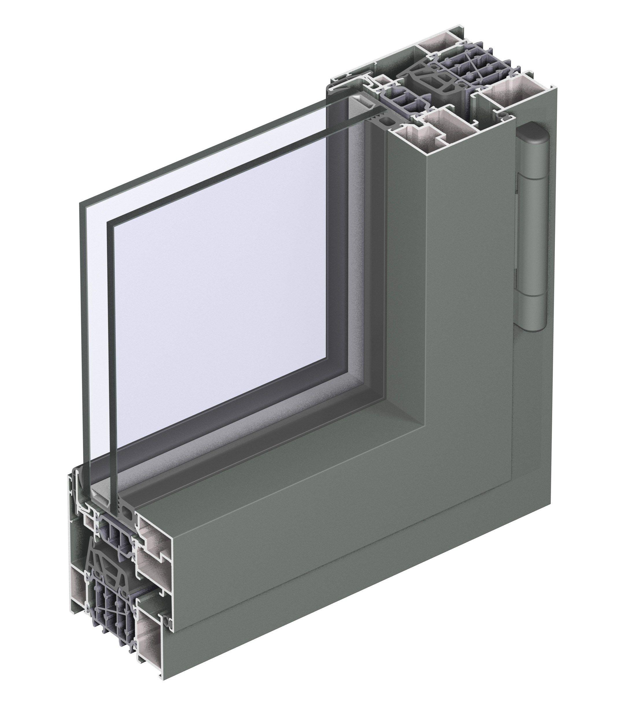 Porta finestra a taglio termico con doppio vetro in for Finestra scorrevole revit