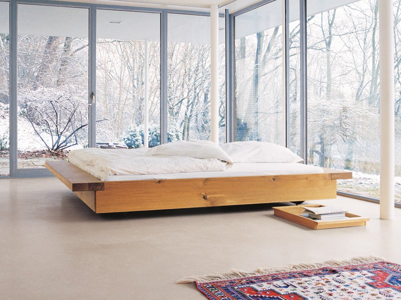 Tatami wooden double bed noah by e15 design philippe allaeys On the floor bed frames