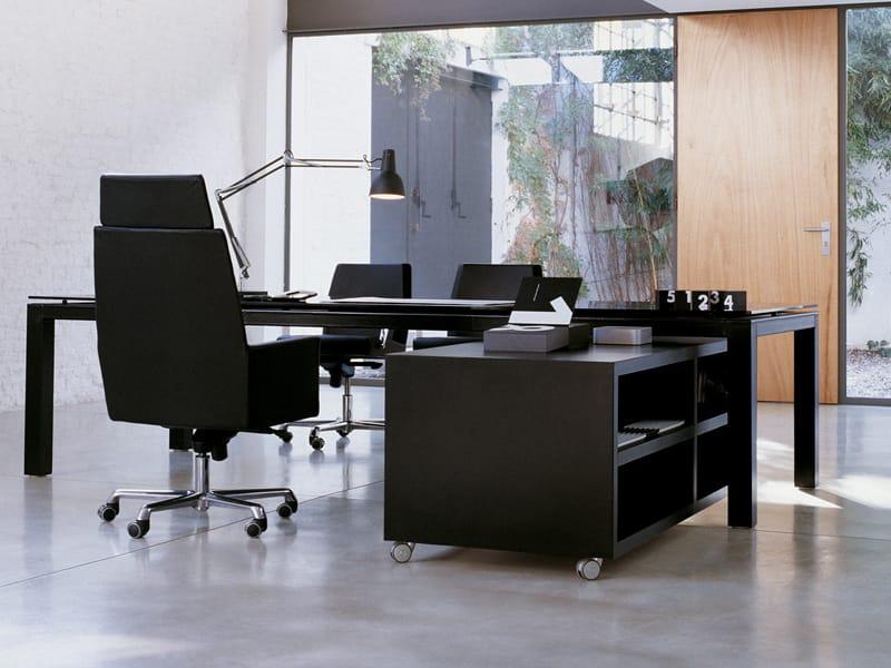 Mobile ufficio basso in cuoio con ruote collezione nazca for Mobile ufficio basso