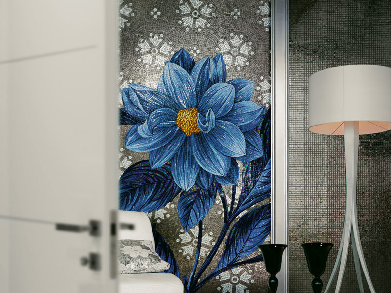 mosaiken wandverkleidung aus glas flower power by sicis. Black Bedroom Furniture Sets. Home Design Ideas