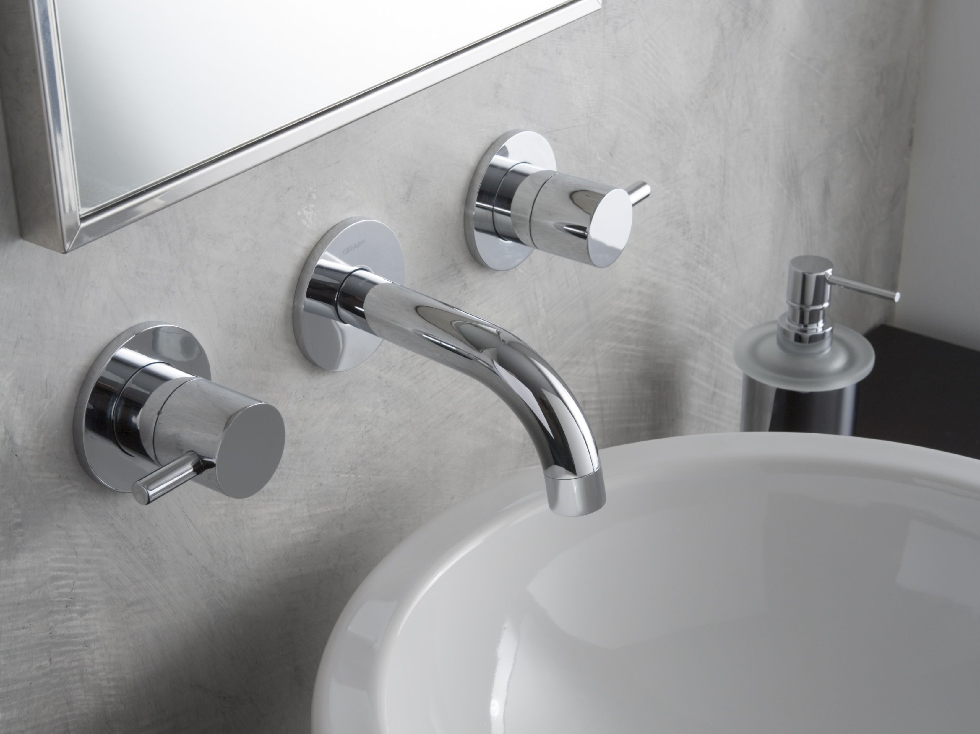 M e rubinetto per lavabo a muro by graff europe west for Rubinetto bagno a muro