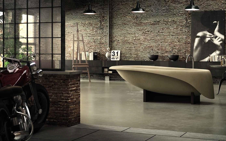 Vasca da bagno centro stanza in ductal concrete soft by - Vasca da bagno in cemento ...