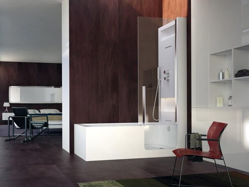 Vasca da bagno con doccia con porta elle combi collezione home wellness by glass 1989 design - Vasca bagno con doccia ...