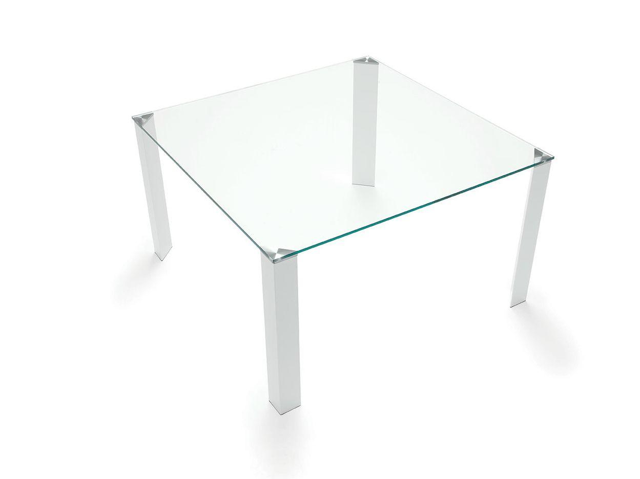 Tavolo quadrato in acciaio e vetro jean square by sovet italia for Tavolo quadrato