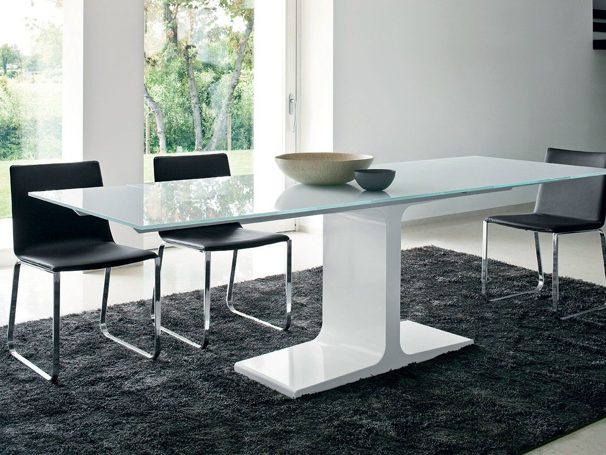 Extending rectangular glass table palace extensible by sovet italia design - Table extensible wenge ...