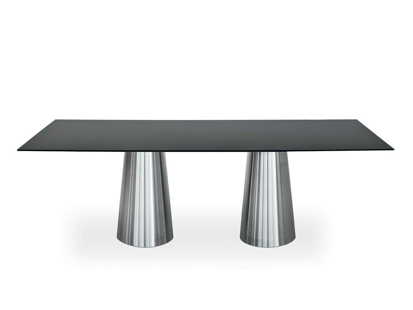Tavolo rettangolare in acciaio inox e cristallo totem two for Tavoli in cristallo e acciaio
