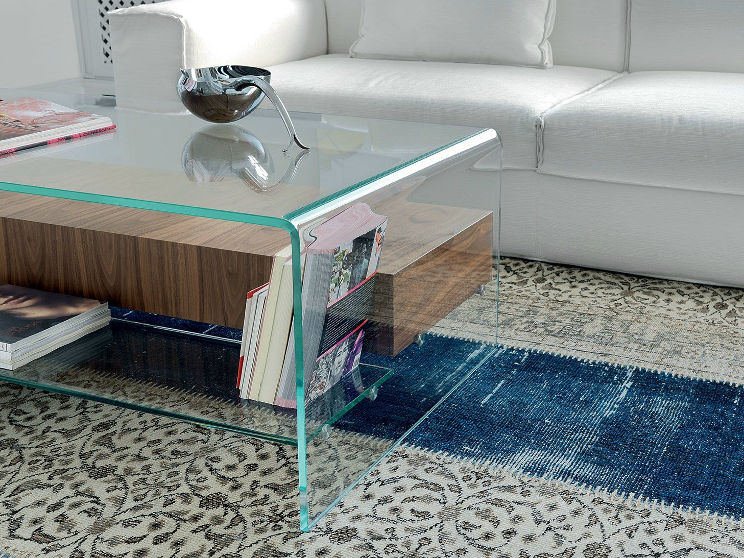 Coffee table bridge with drawer and shelf by sovet italia for Table bridge