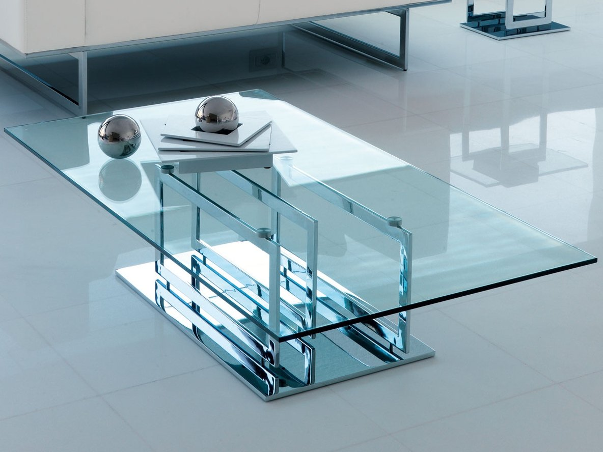 Table basse en verre de style contemporain de salon for Tables basses de salon en verre
