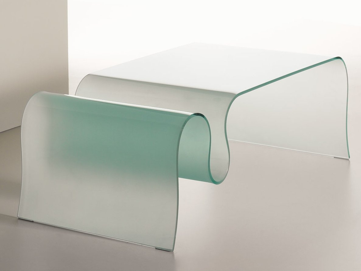 Table basse en verre de salon onda by italy dream design kallist Table en verre design