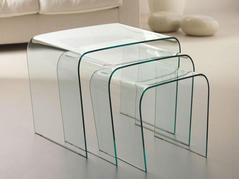 stapelbarer couchtisch aus glas triade by italy dream design. Black Bedroom Furniture Sets. Home Design Ideas