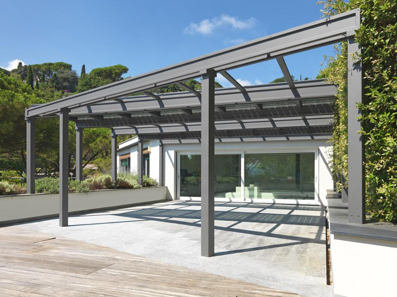 stainless steel pergola conservatory with photovoltaic. Black Bedroom Furniture Sets. Home Design Ideas