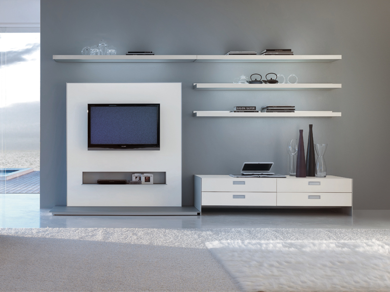 Mueble modular de pared con soporte para tv frame by for Modulares para tv modernos