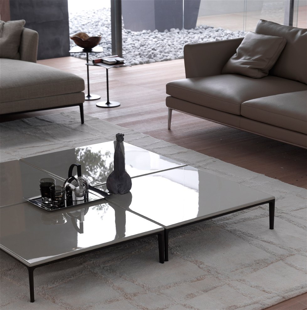 Low coffee table for living room poggio square coffee for Low living room table