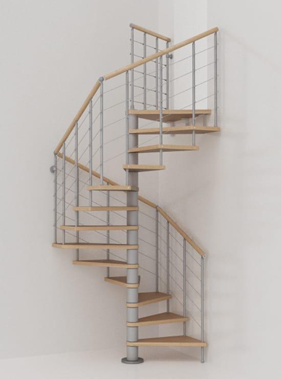 Scala a chiocciola modulare in acciaio inox e legno genius for Scala a chiocciola 3d
