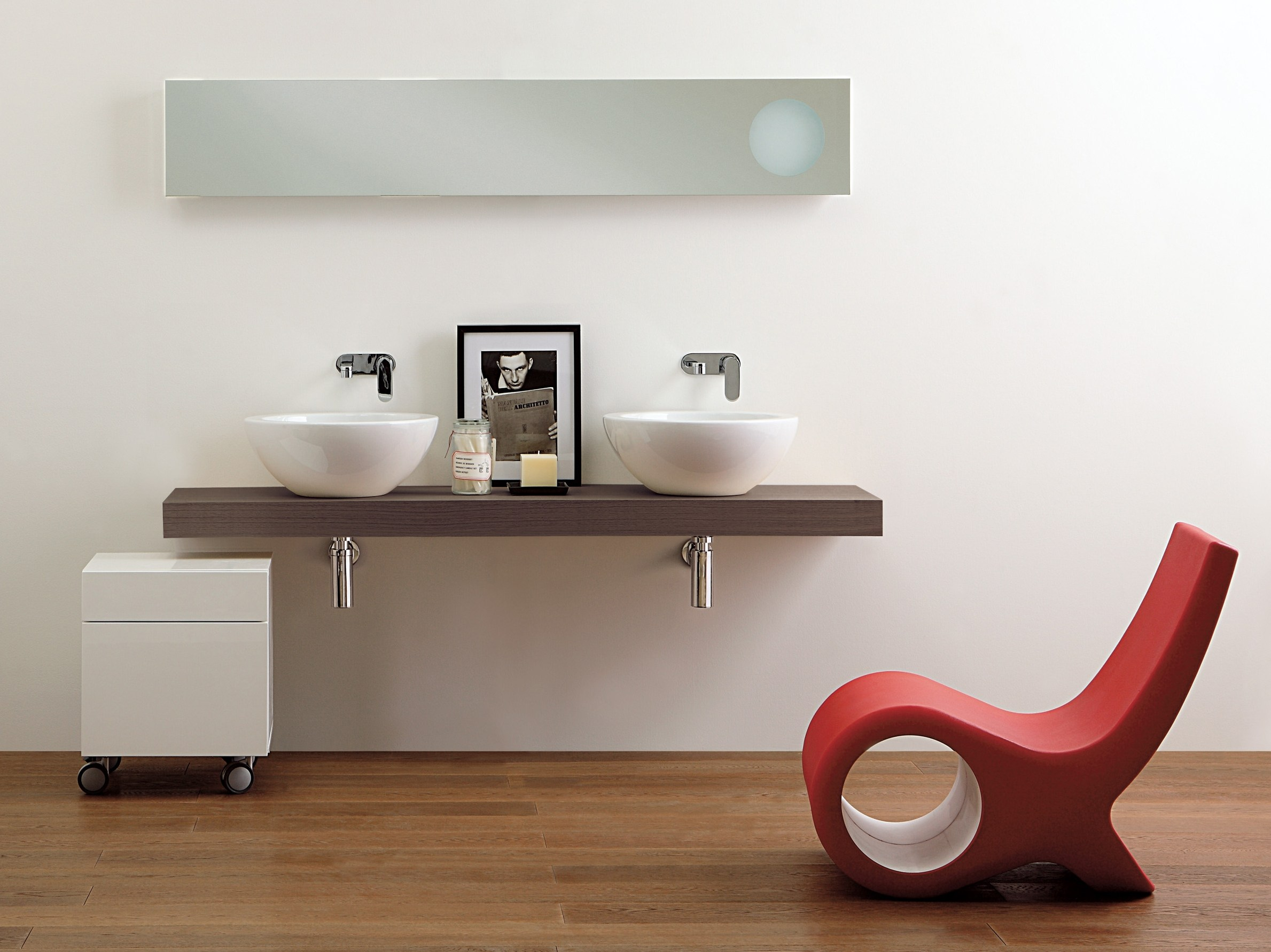 Encimera de lavabo doble forty6 by ceramica flaminia - Lavabos dobles sobre encimera ...