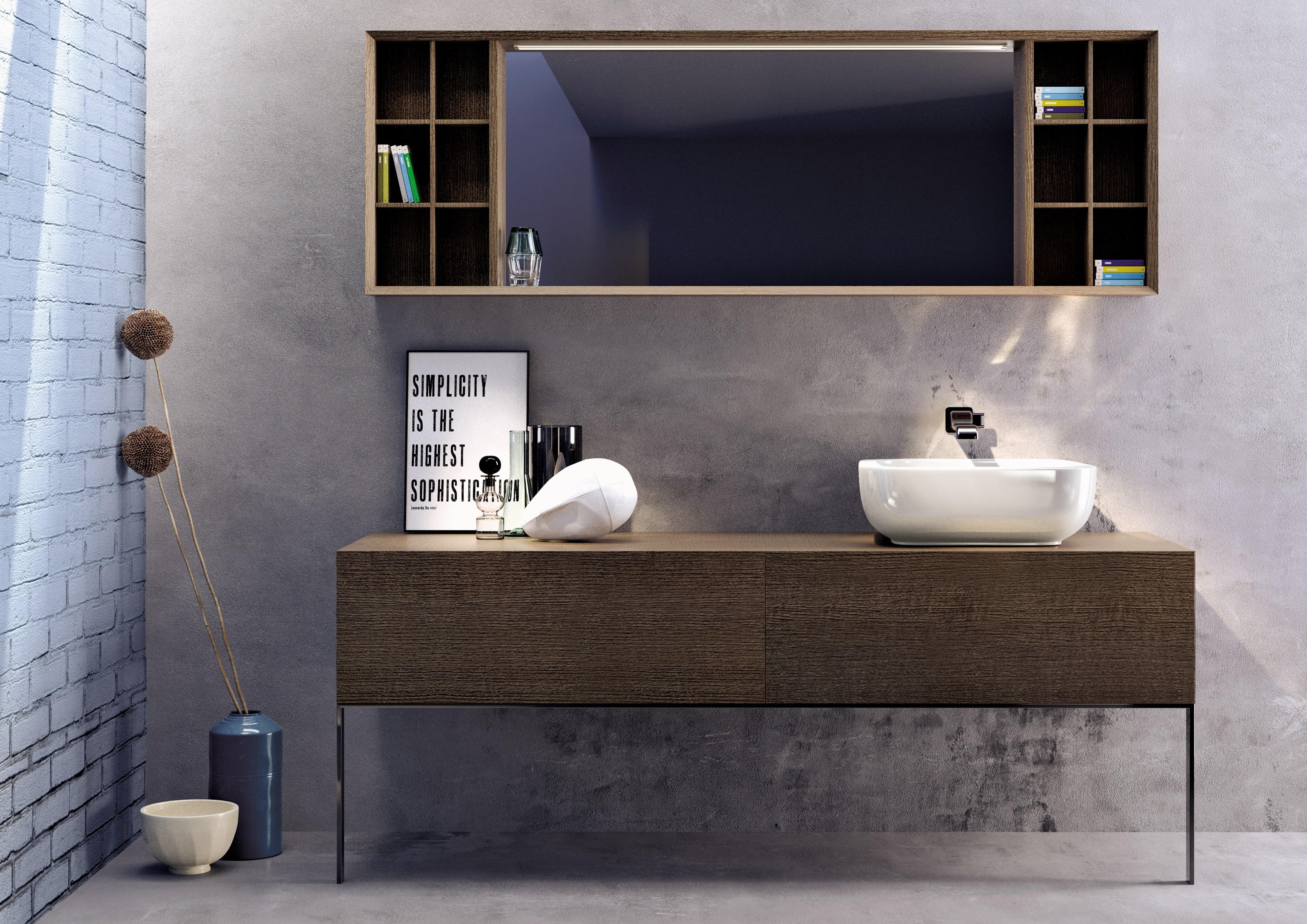 Compono system 180 miroir rectangulaire by ceramica for Salle bain rectangulaire