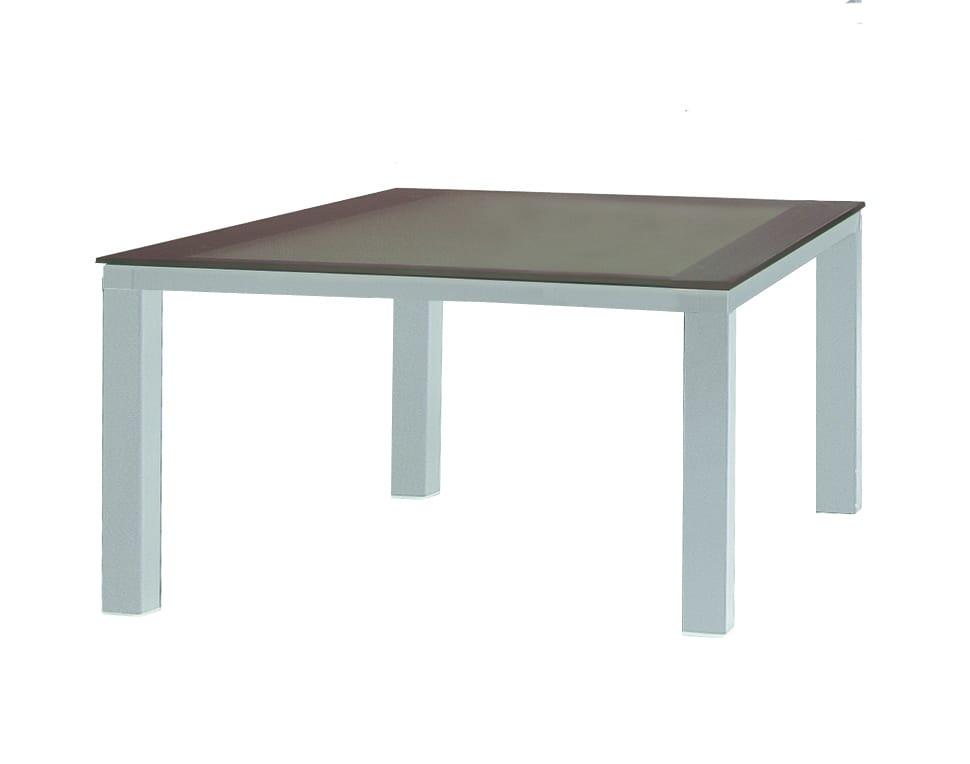 Table de jardin design carree blanc feet for Table de jardin resine blanche