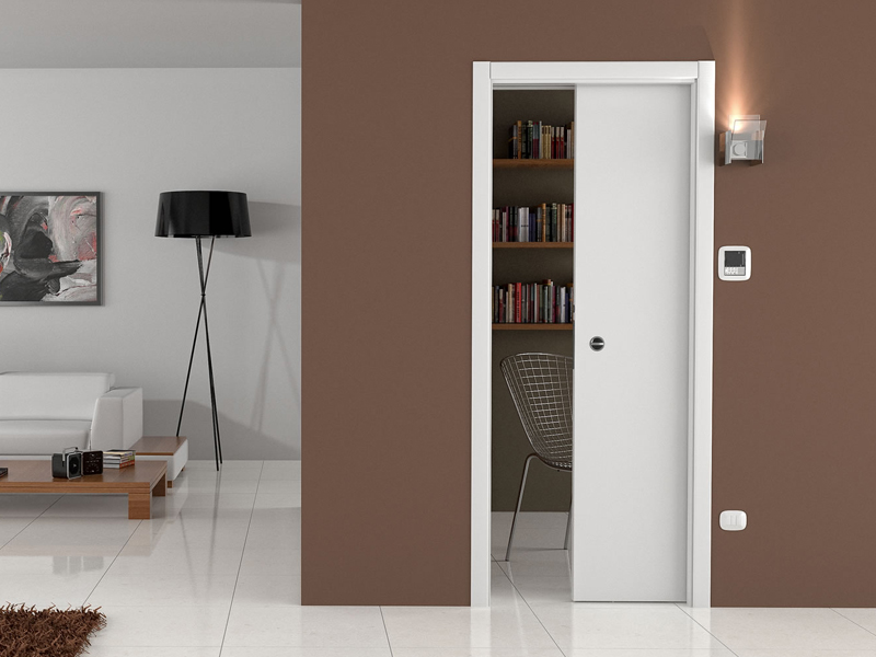 Vanishing sliding door system LUMINOX SINGLE DOOR by Ermetika