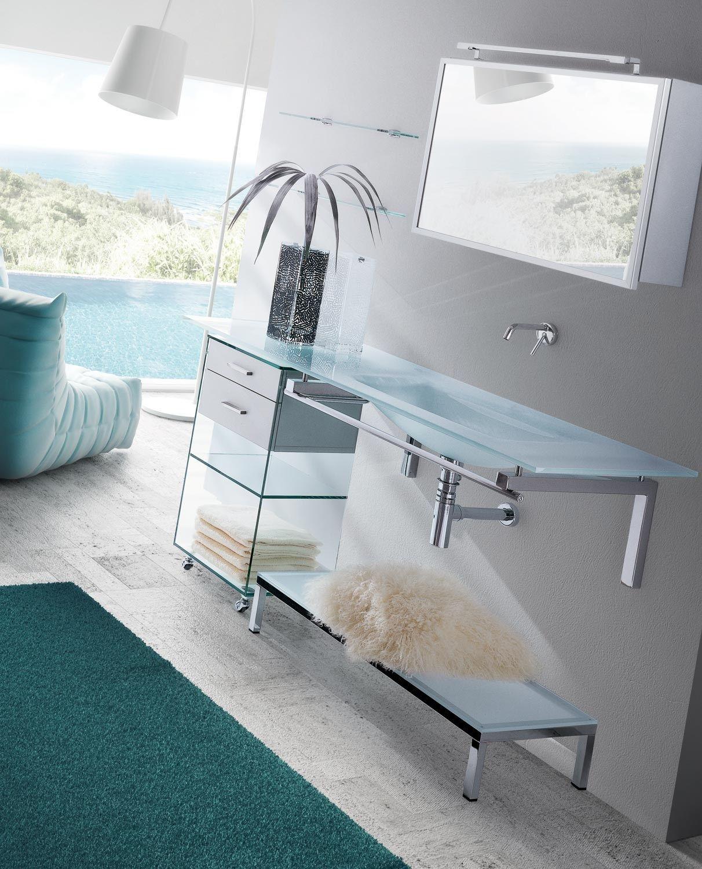 Lavabo suspendido de cristal con toallero tiffany 760 by for Lavabo vidrio